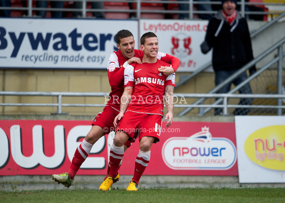 LONDON, ENGLAND - Saturday, February 9, 2013: Leyton Orient's Charlie MacDonald celebrates scoring the first goal against Tranmere Rovers during the Football League One match at Brisbane Road. (Pic by David Rawcliffe/Propaganda)
