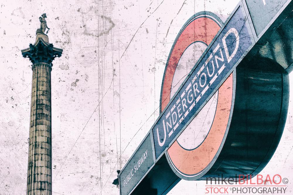 Nelson´s column and underground signal in Trafalgar Square. London, England, United kingdom, Europe.
