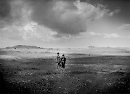 Two Yemeni shepherd boys on the 3,000m high plateau above Kawkaban, Yemen.