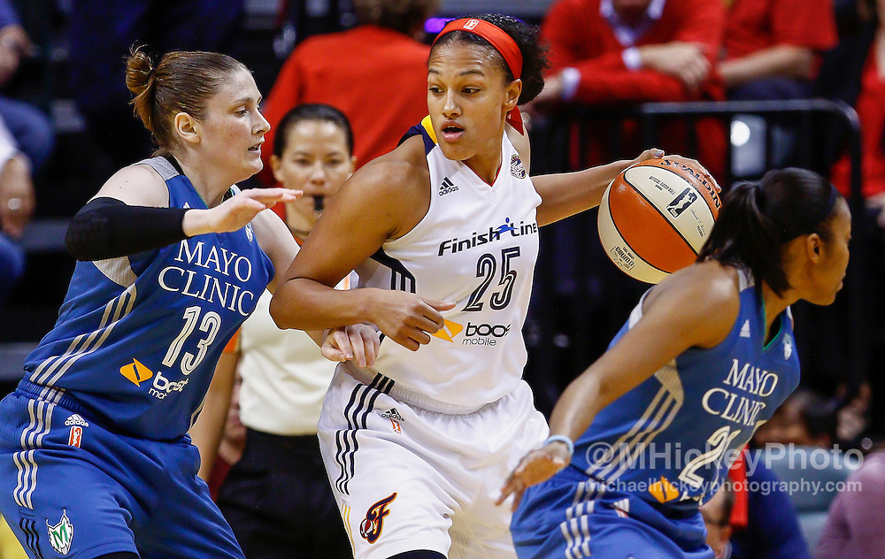INDIANAPOLIS, IN - OCTOBER 11: Marissa Coleman #25 of the Indiana Fever dribbles against Lindsay Whalen #13 of the Minnesota Lynx at Bankers Life Fieldhouse on October 11, 2015 in Indianapolis, Indiana. NOTE TO USER: User expressly acknowledges and agrees that, by downloading and or using this photograph, User is consenting to the terms and conditions of the Getty Images License Agreement. (Photo by Michael Hickey/ Getty Images) *** Local Caption *** Marissa Coleman; Lindsay Whalen