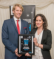 Andrew Triggs Hodge OBE presenting Lifestyle Award  Highly Commended to Jane Cook during the WWF UK Earth Hour 10th Anniversary Parliamentary Reception, Terrace Pavilion, Palace of Westminster. 28th Feb. 2017