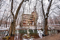 "Deep in the Tennessee countryside near the town of Crossville sits ""The World's Tallest Tree House"" built by Horace Burgess. He says God told him to build it and if he did he would never run out of supplies. Ten stories tall this massive structure dominates the area around it. It was closed down several years ago by the Fire Marshall and now sits alone in the woods."