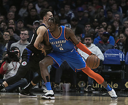March 8, 2019 - Los Angeles, California, United States of America - Landry Shamet #20 of the Los Angeles Clippers defends against Jerami Grant #9 of the Oklahoma Thunder during their NBA game on Friday March 8, 2019 at the Staples Center in Los Angeles, California. Clippers defeat Thunder, 118-110.  JAVIER ROJAS/PI (Credit Image: © Prensa Internacional via ZUMA Wire)