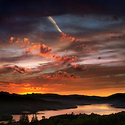 Sunset over Windermere from Brantfell, Bowness, Cumbria