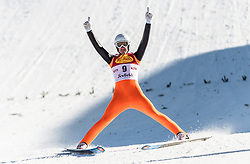 30.01.2016, Casino Arena, Seefeld, AUT, FIS Weltcup Nordische Kombination, Seefeld Triple, Skisprung, Wertungssprung, im Bild Lukas Klapfer (AUT) // Lukas Klapfer of Austria reacts after his Competition Jump of Skijumping of the FIS Nordic Combined World Cup Seefeld Triple at the Casino Arena in Seefeld, Austria on 2016/01/30. EXPA Pictures © 2016, PhotoCredit: EXPA/ JFK