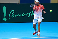 Sopot, Poland - 2018 April 06: Lukasz Kubot from Poland while training session one day before Poland v Zimbabwe Tie Group 2, Europe/Africa Second Round of Davis Cup by BNP Paribas at 100 years of Sopot Hall on April 06, 2018 in Sopot, Poland.<br /> <br /> Mandatory credit:<br /> Photo by © Adam Nurkiewicz / Mediasport<br /> <br /> Adam Nurkiewicz declares that he has no rights to the image of people at the photographs of his authorship.<br /> <br /> Picture also available in RAW (NEF) or TIFF format on special request.<br /> <br /> Any editorial, commercial or promotional use requires written permission from the author of image.
