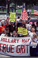 Crowd and sign during First Lady Hillary Rodham Cllinton speech at a rally outside of the Carpenters Union to promote her health care legislation in August 1994...Photograph by Dennis Brack BBBs 20
