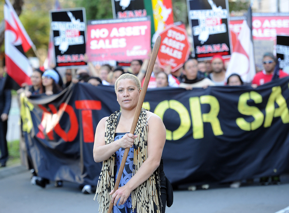 The hikoi against asset sales, and oil drilling heads to Parilament, Wellington, New Zealand, Friday, May 04, 2012. Credit:SNPA / Ross Setford