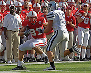 Nebraska wide receiver Nate Swift (87) rushes up field as Kansas State linebacker Ted Sims (45) defends on the play.  Nebraska defeated Kansas State 27-25 at Memorial Stadium in Lincoln, Nebraska, November 12, 2005.