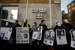 UK ENGLAND LONDON 13DEC10 - Supporters of Wikileaks stage a demonstration outside the Swedish embassy in London demanding the release of its founder Julian Assange...Assange was arrested in London by the Metropolitan Police Service on 7 December by appointment, after a voluntary meeting with the police. Later that day, Assange was refused bail and held in custody on remand...jre/Photo by Jiri Rezac..© Jiri Rezac 2010