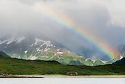 USA, Katmai National Park (AK).Rainbow on a stormy day