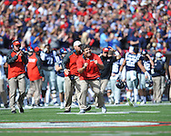 Ole Miss assistant Matt Luke reacts to a made field goal vs. Alabama at Vaught-Hemingway Stadium in Oxford, Miss. on Saturday, October 4, 2014. Ole Miss won 23-17.