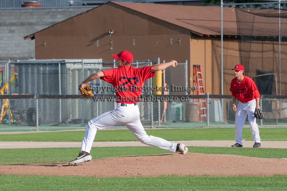 KELOWNA, BC - JULY 17: Zach Jacobs #27 of the Kelowna Falcons throws the opening pitch against the the Wenatchee Applesox  at Elks Stadium on July 17, 2019 in Kelowna, Canada. (Photo by Marissa Baecker/Shoot the Breeze)