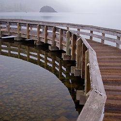 Foot Bridge in Coldwater Lake, Mt. St. Helens National Volcanic Monument, Washington, US
