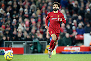 Liverpool forward Mohamed Salah (11) during the Premier League match between Liverpool and Brighton and Hove Albion at Anfield, Liverpool, England on 30 November 2019.