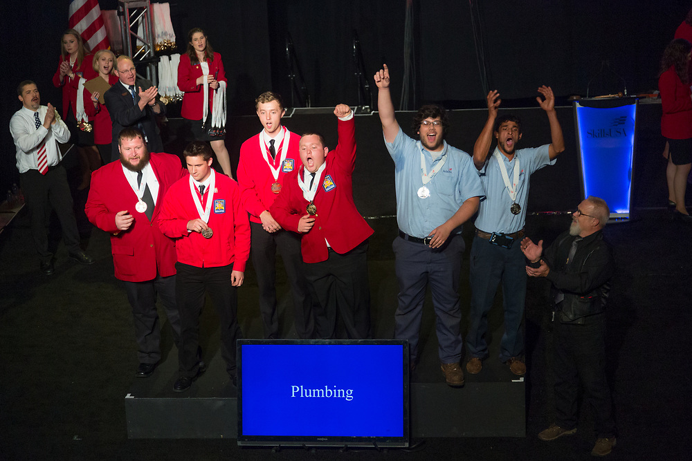 The 2017 SkillsUSA National Leadership and Skills Conference Competition Medalists were announced Friday, June 23, 2017 at Freedom Hall in Louisville. <br /> <br /> Plumbing<br /> <br /> Andrew Funckes<br />   High School Careerline Tech Center<br />   Gold Holland, MI<br /> PlumbingMatthew Novick<br />   High School Norwich Technical High School<br />   Silver Norwich, CT<br /> PlumbingTimothy Girouard<br />   High School Smith Vocational &amp; Agricultural High School<br />   Bronze Northampton, MA<br /> PlumbingCarmen Spiewak<br />   College Camden County Sicklerville<br />   Gold Sicklerville, NJ<br /> PlumbingMax Duren<br />   College Pinellas Technical College-St. Petersburg<br />   Silver Saint Petersburg, FL<br /> PlumbingAaron Higendorf<br />   College Kirkwood Community College<br />   Bronze Cedar Rapids, IA