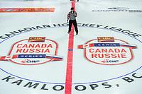 KAMLOOPS, CANADA - NOVEMBER 5:  Referee Kowalski stands at centre ice on November 5, 2018 at Sandman Centre in Kamloops, British Columbia, Canada.  (Photo by Marissa Baecker/Shoot the Breeze)