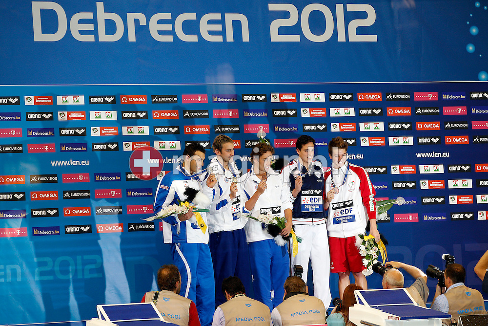 (L-R) Second placed Mirco di Tora of Italy, winner Jonatan Kopelev of Israel and the three bronze medal winners Guy Barnea of Israel, Dorian Gandin of France and Richard Bohus of Hungary pose with their medals during the award ceremony for the men's 50m Backstroke Final during the 31st LEN European Swimming Championships in Debrecen, Hungary, Thursday, May 24, 2012. (Photo by Patrick B. Kraemer / MAGICPBK)