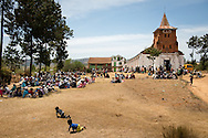 A crowd gathers  Saturday, Oct. 18, 2014, at a Fiangonana Loterana Malagasy (FLM) Lutheran church during the Mercy Medical Team clinic in Antsoantany, Madagascar. LCMS Communications/Erik M. Lunsford