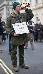 © Licensed to London News Pictures. 23/03/2016. London, UK. A farmer demonstrates in London in support of the farming sector. Photo credit: Peter Macdiarmid/LNP