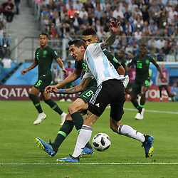 June 26, 2018 - St. Petersburg, Russia - June 26, 2018, Russia, St. Petersburg, FIFA World Cup 2018, First round, Group D, Third round. Football match of Nigeria - Argentina at the stadium of St. Petersburg. Player of the national team Angel Di Maria; Leon Balogun. (Credit Image: © Russian Look via ZUMA Wire)