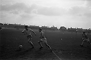17/02/1963<br /> 02/17/1963<br /> 17 February 1963<br /> Soccer: Transport v Cobh Ramblers at Harold's Cross, Dublin.<br /> P. McDonagh of Ramblers (left) clearing the ball from McDonagh of Transport.