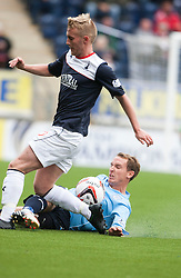 Falkirk's Craig Sibbald and Dundee's Gary Irvine.<br /> half time : Falkirk 1 v 0 Dundee, 21/9/2013.<br /> &copy;Michael Schofield.