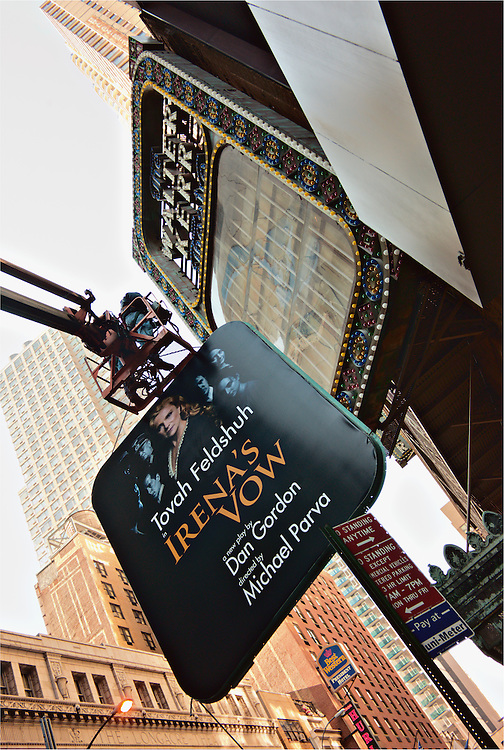 "Sign for new play ""Irena's Vow"" going up on Walter Kerr theater, New York, New York, US"
