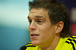 LIVERPOOL, ENGLAND - Wednesday, September 15, 2010: Liverpool's Daniel Agger during a press conference at Anfield ahead of the opening UEFA Europa League Group K match against FC Steaua Bucuresti. (Photo by David Rawcliffe/Propaganda)