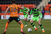 Forest Green Rovers Christian Doidge(9) on the ball during the EFL Sky Bet League 2 match between Barnet and Forest Green Rovers at The Hive Stadium, London, England on 7 April 2018. Picture by Shane Healey.