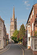 St James Church the tallest church spire in England.<br /> Louth, Lincolnshire<br /> Day<br /> Looking down Westgate<br /> April<br /> UK