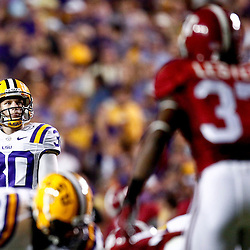 November 3, 2012; Baton Rouge, LA, USA;  LSU Tigers kicker Drew Alleman (30) looks on before attempting a field goal against the Alabama Crimson Tide during a game at Tiger Stadium. Alabama defeated LSU 21-17. Mandatory Credit: Derick E. Hingle-US PRESSWIRE