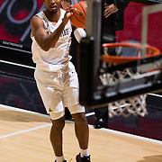 22 December 2018: San Diego State Aztecs guard Devin Watson (0) lines up a three point shot in the first half. The Aztecs beat the Cougars 90-81 Satruday afternoon at Viejas Arena.