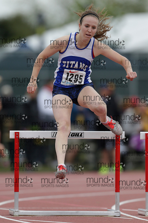 Bridget Hayes of Mother Teresa HS - Nepean competes in the intermediate hurdle heats at the 2013 OFSAA Track and Field Championship in Oshawa Ontario, Saturday,  June 8, 2013.<br /> Mundo Sport Images/ Geoff Robins