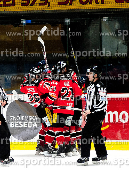 13.02.2015, Ice Rink, Znojmo, CZE, EBEL, HC Orli Znojmo vs EC Red Bull Salzburg, Platzierungsrunde, im Bild Torjubel // during the Erste Bank Icehockey League placement round match between HC Orli Znojmo and EC Red Bull Salzburg at the Ice Rink in Znojmo, Czech Republic on 2015/02/13. EXPA Pictures © 2015, PhotoCredit: EXPA/ Rostislav Pfeffer
