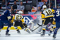 REGINA, SK - MAY 18: Robert Thomas #27 of Hamilton Bulldogs takes a shot on Max Paddock #33 of Regina Pats at the Brandt Centre on May 18, 2018 in Regina, Canada. (Photo by Marissa Baecker/Shoot the Breeze)