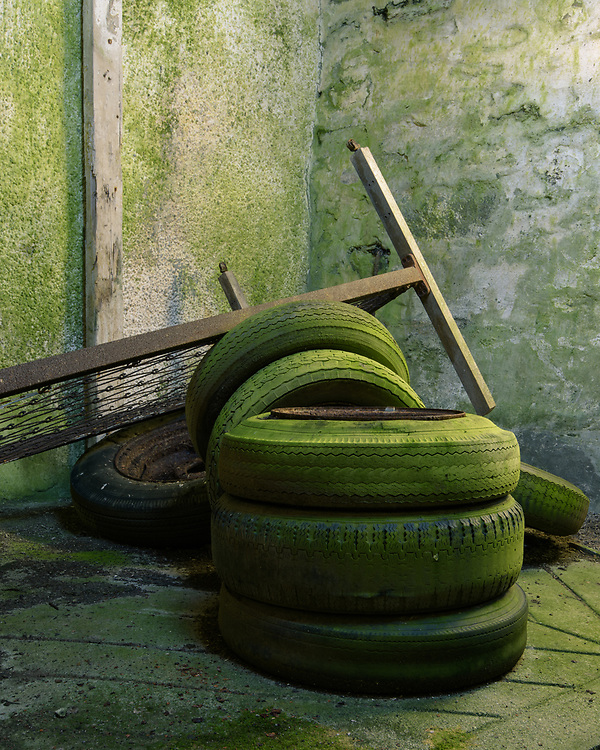 Tyres in abandoned cottage, Jura, Scotland