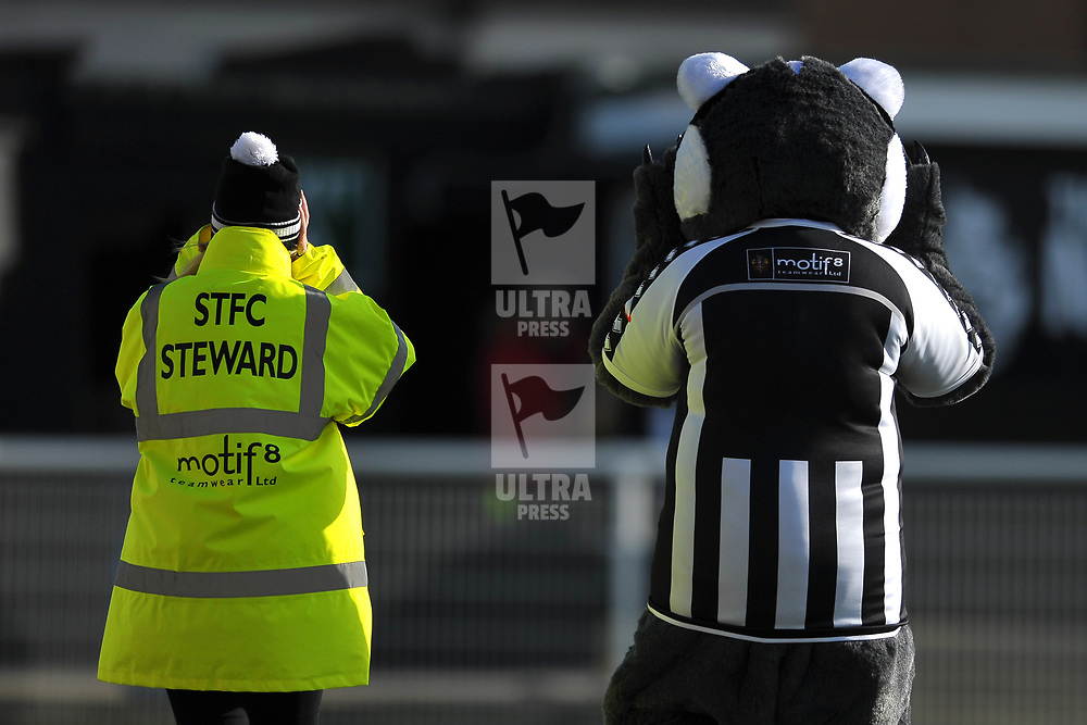 TELFORD COPYRIGHT MIKE SHERIDAN Spennymoor Town steward and badger mascot cover their ears during the Vanarama Conference North fixture between Spennymoor Town and AFC Telford United at Brewery Field, Spennymoor on Saturday, February 29, 2020.<br /> <br /> Picture credit: Mike Sheridan/Ultrapress<br /> <br /> MS201920-048
