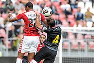 26-07-2016: Voetbal: FC Utrecht v Espanyol: Utrecht<br /> <br /> Sebastien Haller (FC Utrecht) wordt belaagd door Victor Sanchez Mata(Espanyol)<br /> <br /> Oefenwedstrijd in stadion Galgenwaard ter voorbereiding op het Eredivisie seizoen 2016-2017<br /> <br /> Foto: Gertjan Kooij
