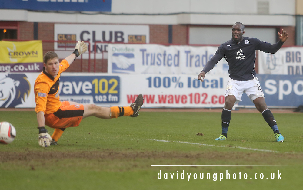 Dundee's Christian Nade comes close with this shot which went just wide - Dundee v Greenock Morton, SPFL Championship at <br /> Dens Park<br /> <br />  - &copy; David Young - www.davidyoungphoto.co.uk - email: davidyoungphoto@gmail.com