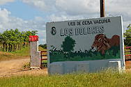 Farm sign near Las Tunas city, Las Tunas, Cuba.