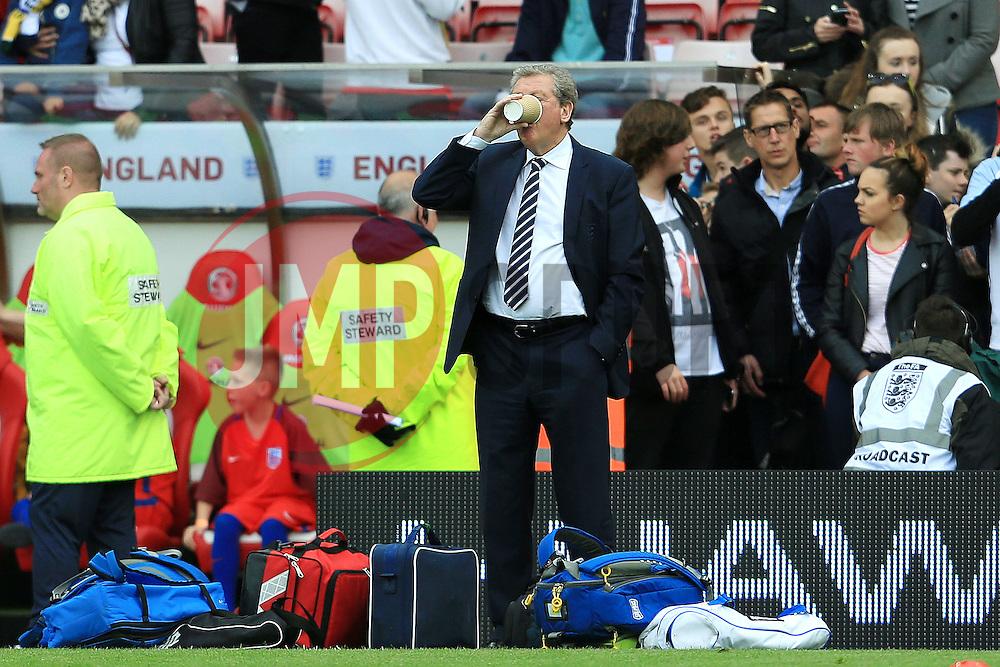 England Manager Roy Hodgson takes a drink before kick off - Mandatory by-line: Matt McNulty/JMP - 27/05/2016 - FOOTBALL - Stadium of Light - Sunderland, United Kingdom - England v Australia - International Friendly