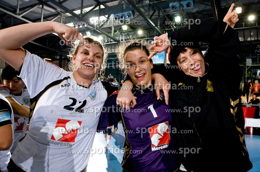 Dragana Cvijic, Goalkeeper of Krim Jelena Grubisic and Sergeja Stefanisin at handball match of Round 2 of Champions League between RK Krim Mercator and Aalborg DH, on October 31, 2009, in Arena Kodeljevo, Ljubljana, Slovenia.  Krim won 30:23. (Photo by Vid Ponikvar / Sportida)