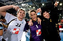 Dragana Cvijic, Goalkeeper of Krim Jelena Grubisic and Sergeja Stefanisin at handball match of Round 2 of Champions League between RK Krim Mercator and Aalborg DH, on October 31, 2009, in Arena Kodeljevo, Ljubljana, Slovenia.  Krim won 30:23. (Photo by Vid Ponikvar / Sportida)