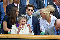 LONDON, ENGLAND - Saturday, July 5, 2014: Martina Navratilova chats with actress Keira Knightley and her husband James Righton during the Ladies' Singles Final match on day twelve of the Wimbledon Lawn Tennis Championships at the All England Lawn Tennis and Croquet Club. (Pic by David Rawcliffe/Propaganda)