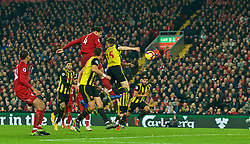 LIVERPOOL, ENGLAND - Wednesday, February 27, 2019: Liverpool's Virgil van Dijk scores the fifth goal, his second of the game, with another header during the FA Premier League match between Liverpool FC and Watford FC at Anfield. (Pic by Paul Greenwood/Propaganda)