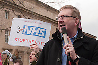 Len McCluskey speaking at the rally after the march on a demonstration outside the Liberal Democrat Spring Conference in Sheffield. 12-03-2011.