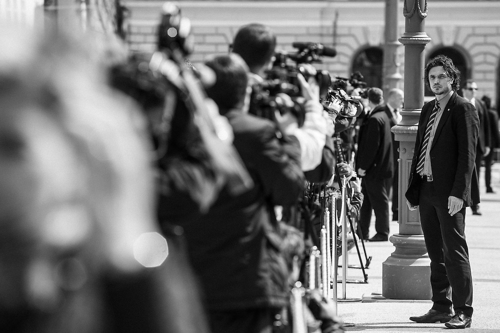 Security guards at work during visit of turkish president Recep Tayyip Erdogan in Slovenija.