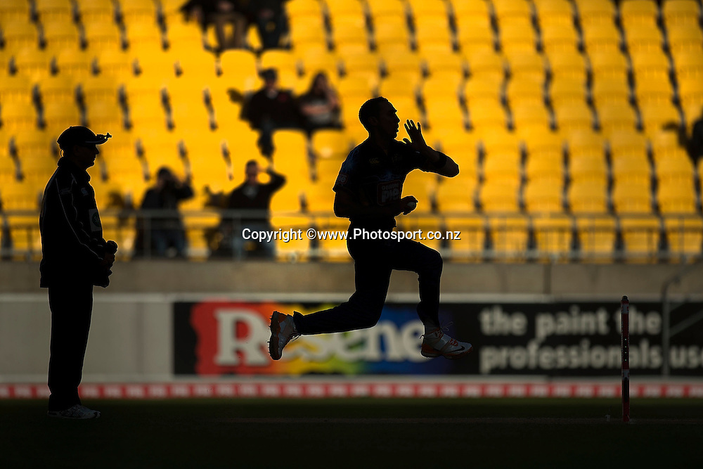 Ryan ten Doeschate of the Volts bowls during the Georgie Pie Super Smash Volts v Knights cricket match at the Westpac Stadium in Wellington on Sunday the 23rd of November 2014. Photo by Marty Melville/www.Photosport.co.nz