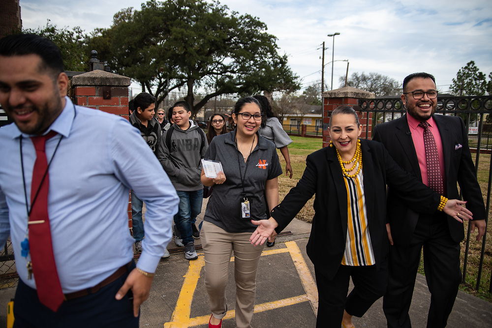 Area Superintendent Geovanny Ponce interrupted classto announce Ana Maria Steen,Navarro Middle School teacher, as theSterling McCall VIP Services Teacher of the Month for February.